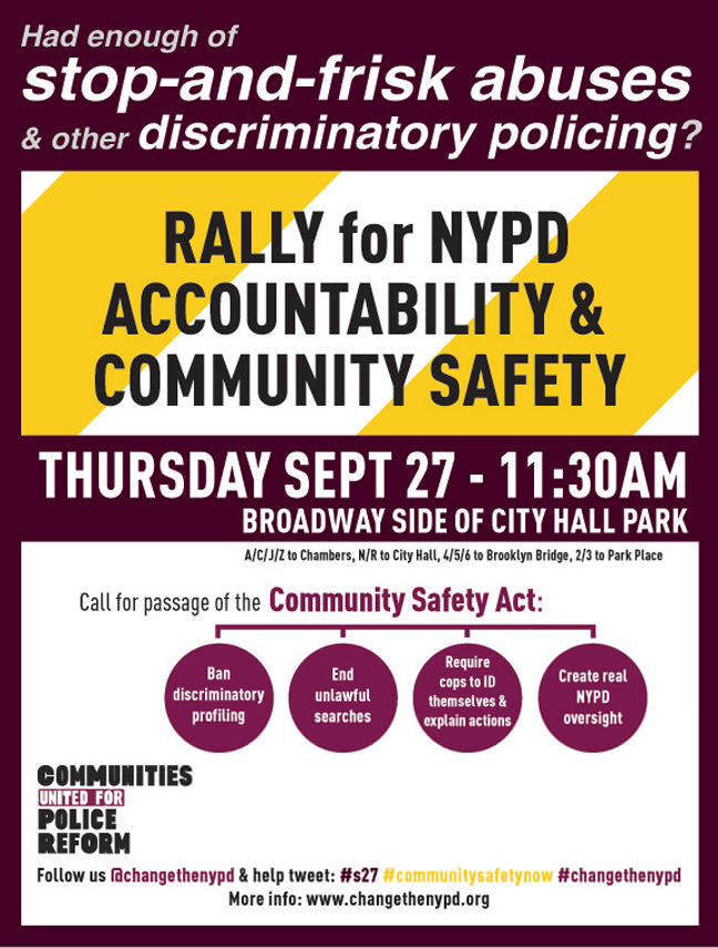 Flyer for CRP Rally on September 27