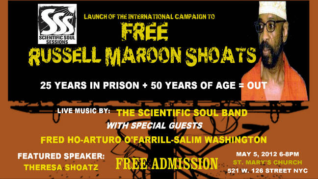 Free Russell Maroon Shoats Event Flyer