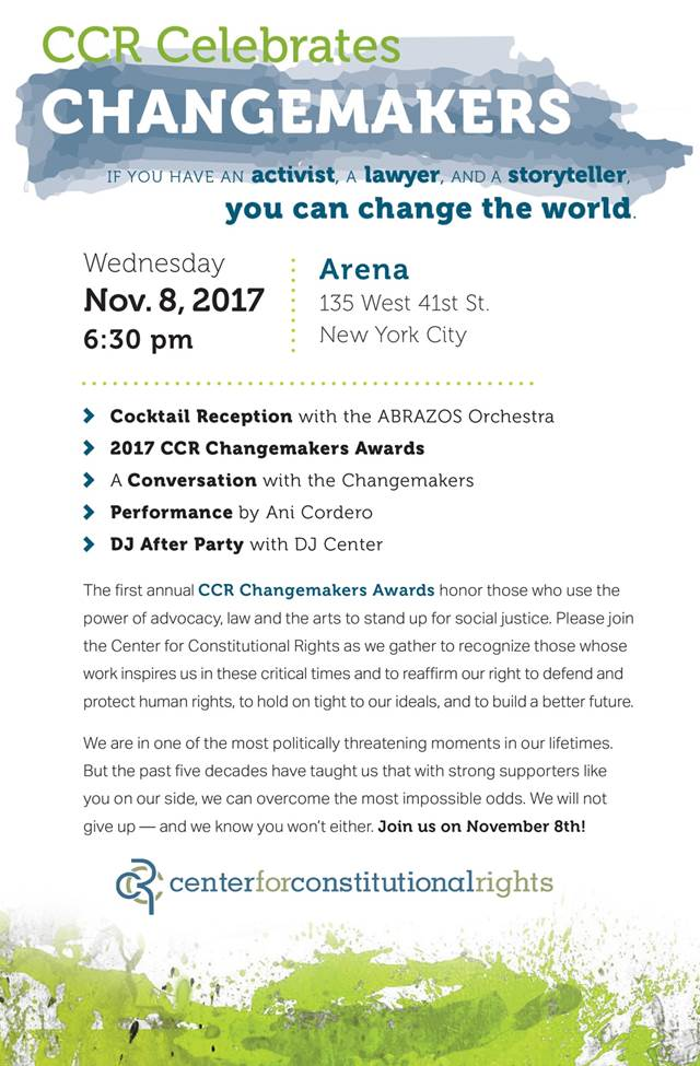 Join Us on November 8th - The 2017 CCR Changemakers Awards!