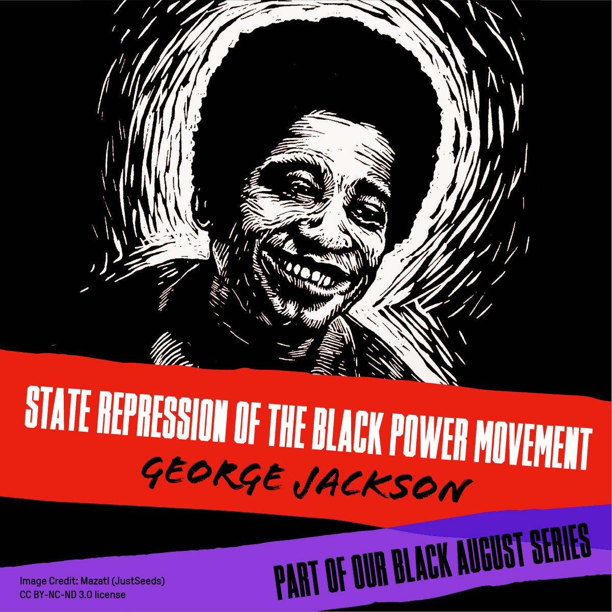 Illustration of George Jackson with the title State Repression of the Black Power Movement