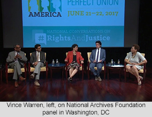 Vince Warren, left, on National Archives Foundation panel in Washington, DC