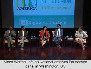 Vince Warren, left, on National Archives Foundation panel in Washington, DC