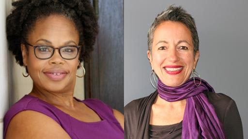 image of Lisa Crooms-Robinson and Leila Hissini. Crooms-Robinson is on the left. she is a Black woman wearing black rimmed glasses with her hair in a natural afro and gold hoop earrings. on the right is Leila Hessini she has short gray hair large silver hoop earrings, and is wearing red lipstick. around her neck is a plum-colored scarf