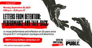 text reads 20 Years After September 11 Lessons in Solidarity Tuesday, September 14, 2021 | 3–5 p.m. ET