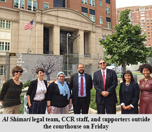 Al Shimari legal team, CCR staff, and supporters outside the courthouse on Friday