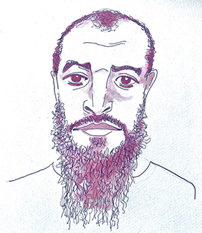 an illustration of our client Sharqawi Al Hajj by Christopher Noxon