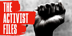 image of a fist raised with text reading the activist files