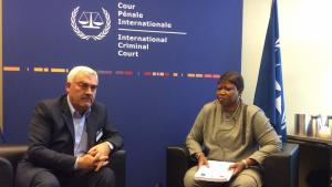 Shawan Jabarin, Director of Al-Haq, pictured with ICC Prosecutor Fatou Bensouda.