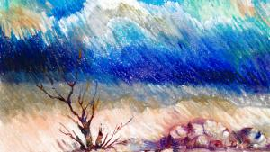 Landscape painting by CCR client and GITMO detainee Ghaleb Al-Bihani