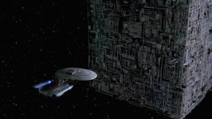 Starship Enterprise faces the Borg Cube