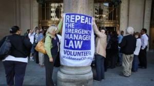 Michigan residents protest emergency manager law