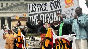 Nigerian Ogoni people protest Shell outside the U.S. Supreme Court