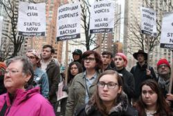 Students and supporters rally to defend Fordham SJP