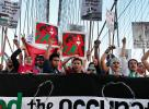 Demonstrators march across the Brooklyn Bridge during a pro-Palestinian rally