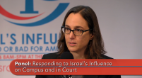 Maria Lahood at Washington Report panel on silencing criticism of Israel in the U.S. on-screen text reads panel responding to Israel's influence on campus and in court